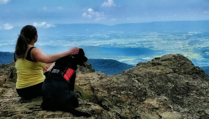 Service Dog Team with a view